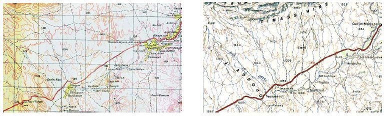 Izquierda, detalle de la cartografía militar Soviética escala 1:200.000, correspondiente a una zona del valle del Dadès, en Marruecos. Derecha, un fragmento correspondiente a esta misma zona de un mapa militar marroquí. La mejor fiabilidad y lectura de los mapas rusos contrasta con la imposibilidad de lectura de los topónimos, en caracteres cirílicos.