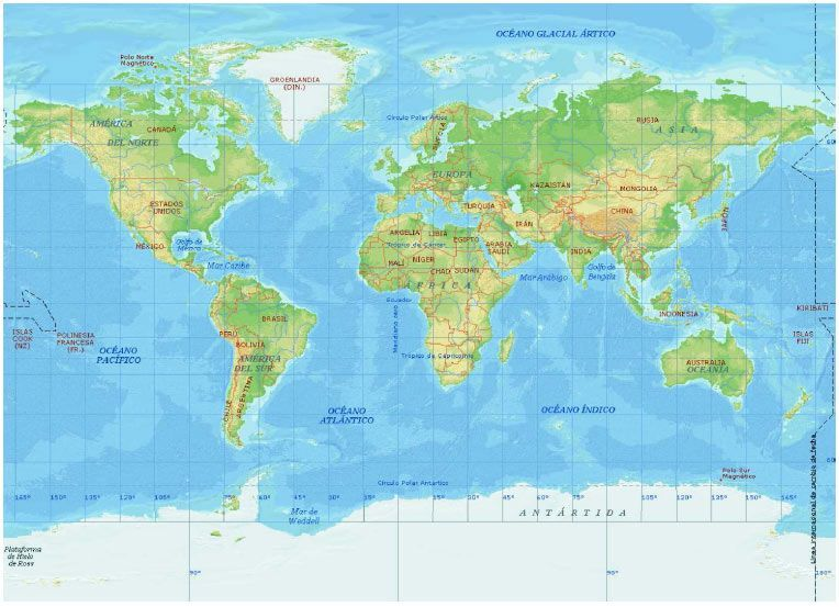Mapamundi representando la totalidad de la superficie terrestre mediante proyección cilíndrica «Mercator» Obsérvese, respecto a la imagen esferoidal, como en las zonas polares se produce una importante distorsión en las superficies, al trasladar a una superficie plana otra inicialmente esférica (Comparese el tamaño de Africa con el de Groenlandia en uno u otro caso).