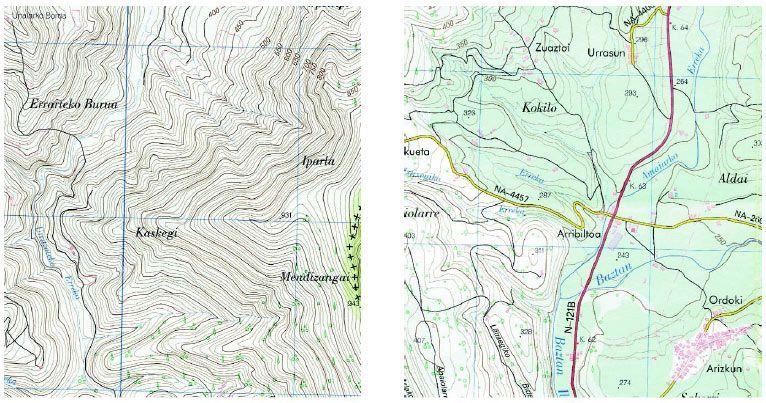 Izquierda, fragmento de una hoja escala 1:25.000 del Mapa Topográfico nacional, editado por el CNIG. Por tratarse de esta escala, la equidistancia de las curvas de nivel es de 10 metros; las directoras, una de cada cinco, están marcadas en trazo más grueso, e indican las cotas de altura (en el centro de la imagen, arriba). A la derecha de la imagen, podemos ver cómo las curvas de nivel se aprietan unas contra otras, indicandonos claramente que se trata de una zona muy escarpada y, por tanto, de muy difícil acceso. A la derecha, otro fragmento de la misma hoja. En este caso corresponde a una zona bastante llana y, por ello las curvas de nivel están muy separadas. Abundan las construcciones y las vías de comunicación, debido a la facilidad de acceso que permite su topografía