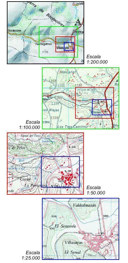 Reproducción de diversos mapas en las escalas indicadas. Cada vez que cambiamos la escala, aumenta el nivel de detalle, y, al ser igual la superficie en papel, el área real representada se reduce a la cuarta parte. Marcada sobre cada imagen vemos la zona representada en las siguientes escalas.