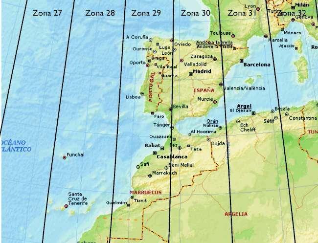 Detalle de las zonas UTM en las cuales está comprendida España. La numeración de las zonas arranca en el meridiano 180, y cada una de ellas tiene una anchura de 6º. Por ello, la zona 30 tiene como límite occidental el meridiano 0 (30 zonas x 6º= 180º= 1 hemisferio completo)