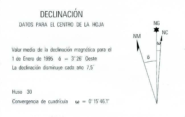 Gráfico utilizado por algunos mapas para hacernos saber los valores de convergencia de cuadrícula y declinación magnética.