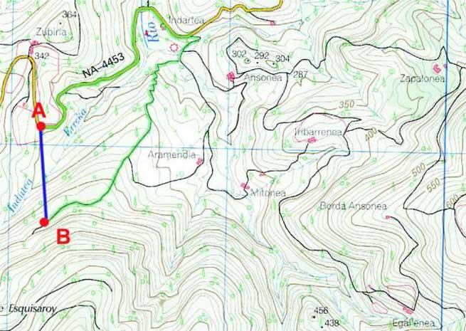 Queremos desplazarnos desde el punto A al B. Los instrumentos de navegación nos indican un rumbo de 175 º, y una distancia de 400 metros (en azul); la realidad es otra: aproximadamente 4 kilómetros de recorrido, alternando todos los rumbos posibles, para llegar, salvando los desniveles del terreno a través de carretera y pistas (en verde). Sin el mapa, hubiera sido prácticamente imposible llegar